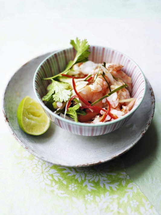 Feature on thai food, prawn salad